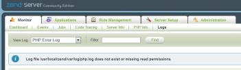 Zend Server tidak dapat mengakses error log