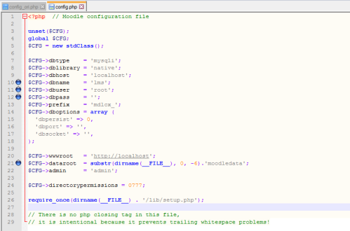 edit config.php moodle